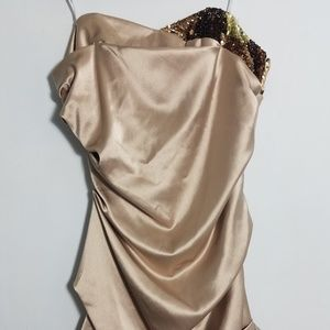 Gorgeous NWT ABS gold sequin strapless dress, 14